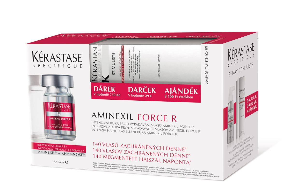 Krabice s přípravkem proti vypadávání vlasů od Kérastase Paris – Aminexil Force R 42.