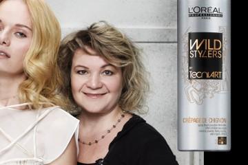 Kaderníčka Irena Vavrušková názorne predvádza, ako vytvoriť účes Golden lob. Tento účes je súčasťou publikácie L'Oréal Professionnel BOOK trendov IT LOOKS.
