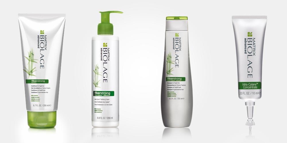 Vlasová kozmetika Biolage Fiber Strong od Matrix obsahuje šampón, kondicionér a posilňujúci krém na vlasy. Súčasťou série je aj maska na vlasy Biolage Fiber Strong, tá sa však v ČR a SR na trh uvedená nebola.