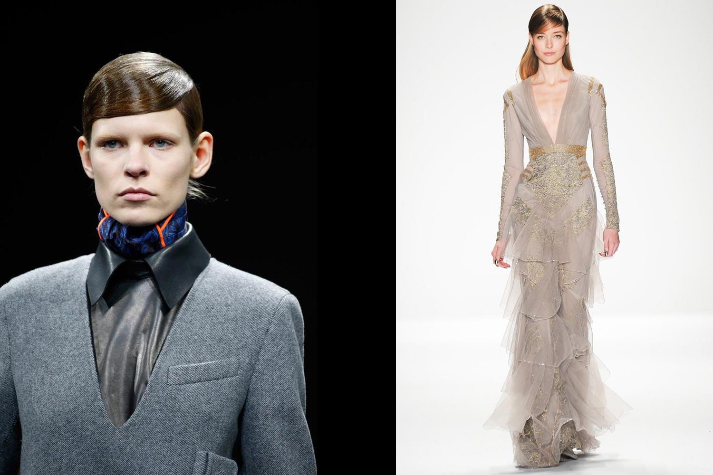 Vlasy na stranu s cestičkou, úhľadne uhladené, poslúžia ako bežný denný účes (viz. v kolekcii Alexander Wang), ale aj ako súčasť účesu pre dlhé vlasy na ples (viz. v kolekcii Badgley Mischka).