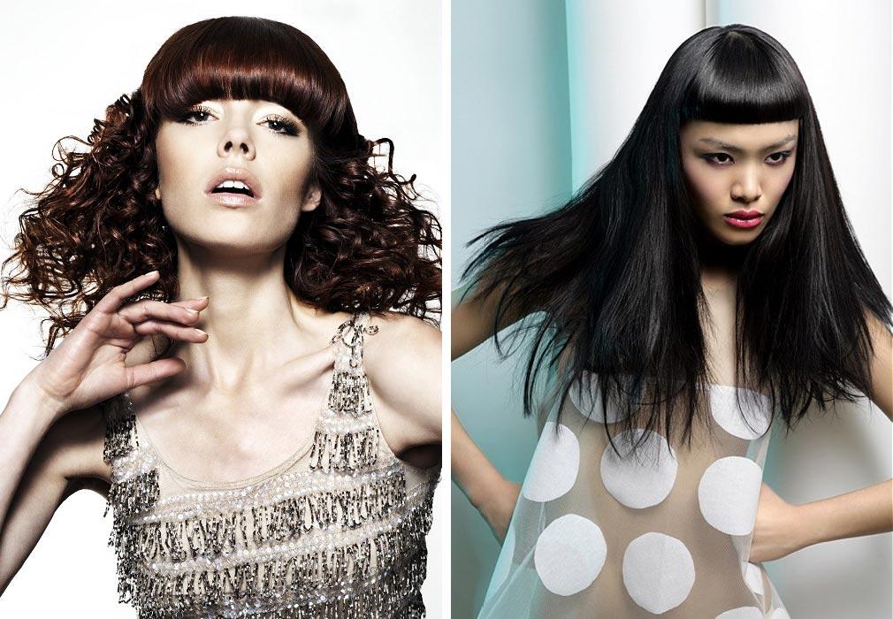 Dlhé vlasy s ofinou majú veľa možností – skúste ich! (Účesy z kolekcií kaderníkov: vľavo Michael John, vpravo Sanrizz.)