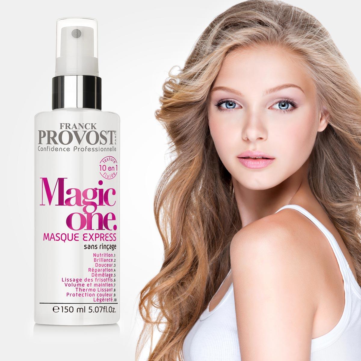 """Rad profesionálnej vlasovej kozmetiky Franck Provost sa rozrastá o """"must have"""" produkt Magic One. Expresné neoplachovacia maska 10 v 1 ponúka skvelé vlasy ako mávnutím kúzelnej paličky. Vlasy vyživí, zregeneruje, okamžite sa ľahko rozčesávajú, sú chránené proti UV lúčom, sú lesklé, hebké, pružné, bez krepatenia, uľahčuje úpravu účesu a ten drží dlhšie ako zvyčajne."""