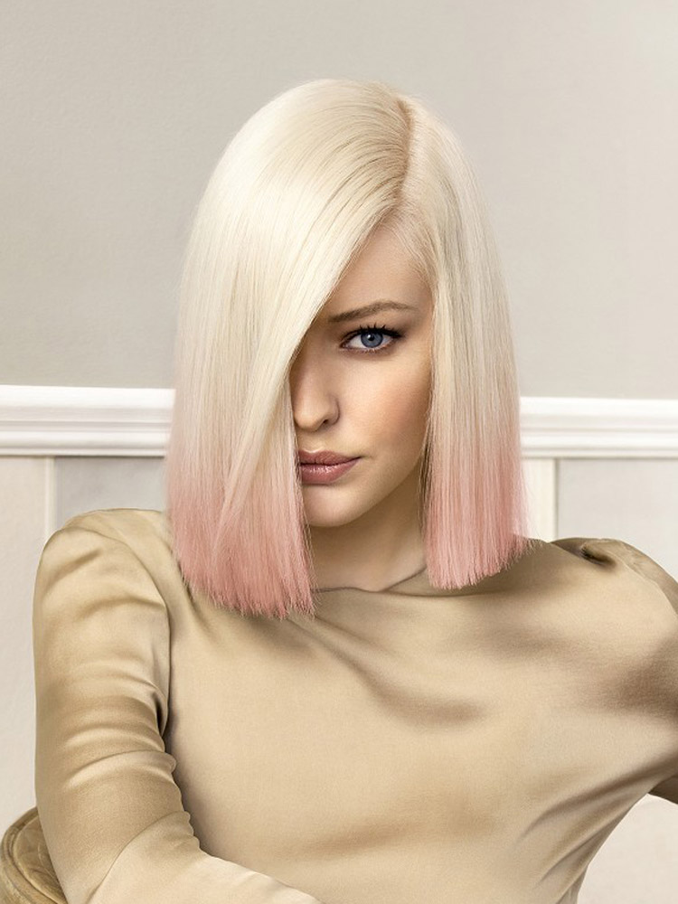 Účesy pre polodlhé vlasy jeseň/zima 2014/2015: Blond lob s prefarbenými koncami.