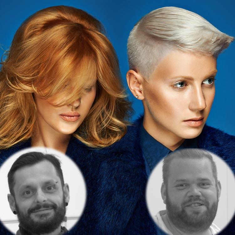 Kaderníci Karel Dražan a Miroslav Popper predstavujú nové účesy z kolekcie Blond Silhouette Redken jeseň/zima 2014/2015.