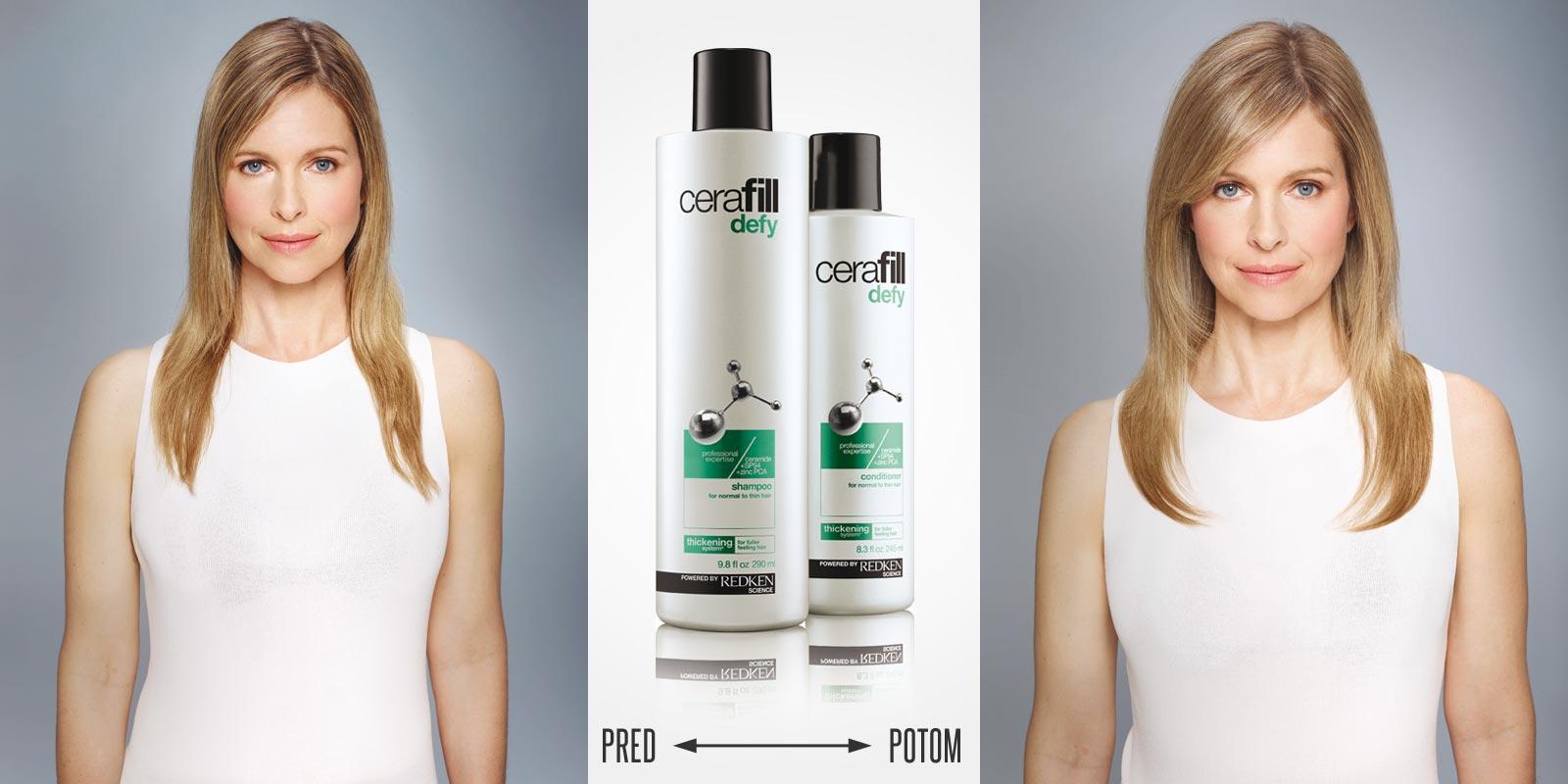 Cerafill pomáha proti rednutiu vlasov. Pred a po používaní Cerafill Defy spoločne s úpravou strihu, farby a stylingu.