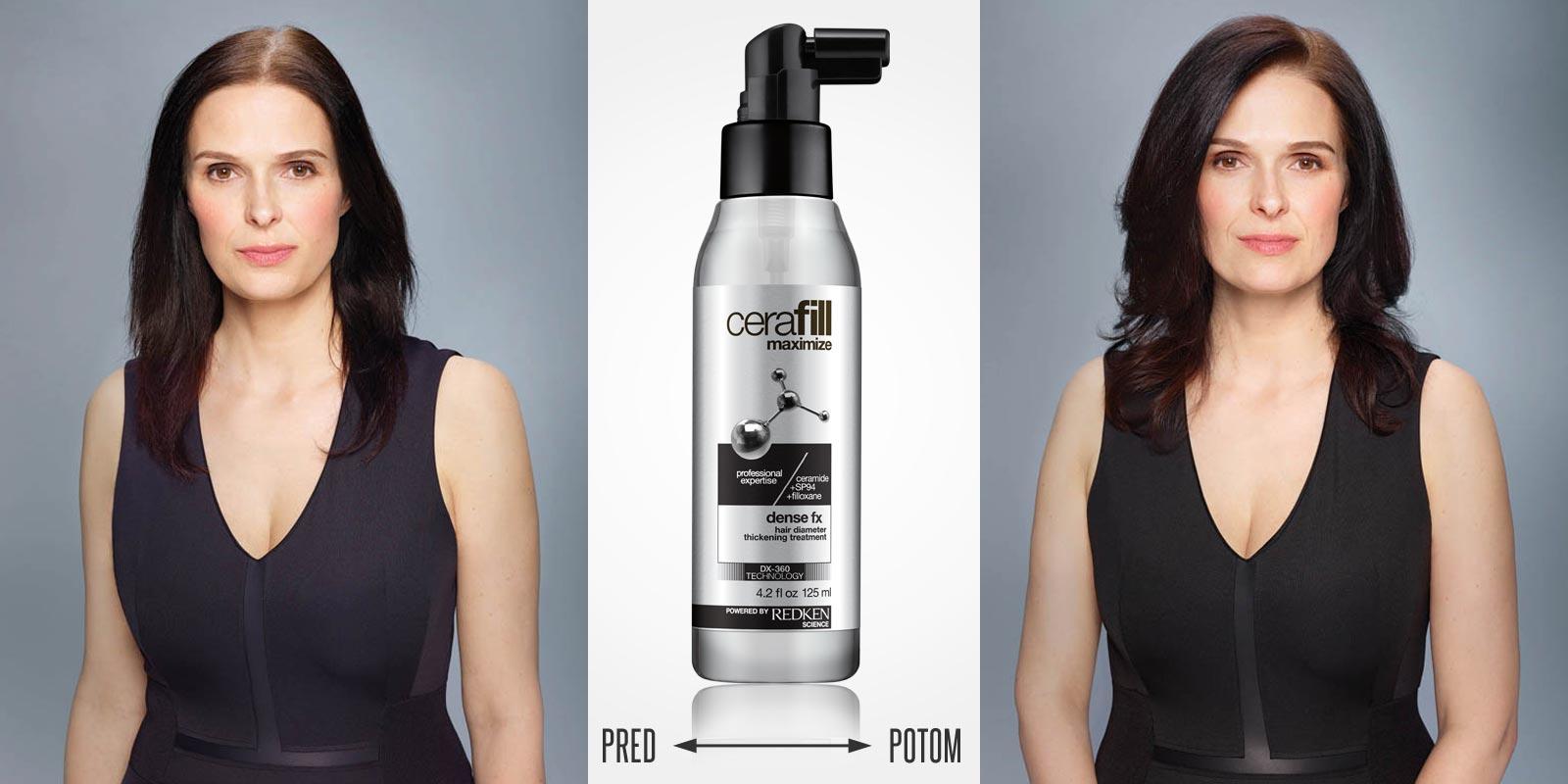 Cerafill pomáha proti rednutiu vlasov. Pred a po používaní Cerafill Retaliate spoločne s úpravou strihu, farby a stylingu.