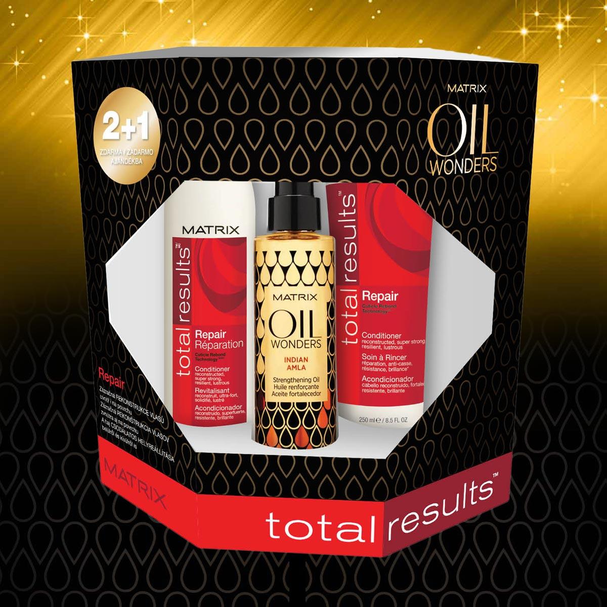 Repair – vianočný balíček Oil Wonders od Matrix pre poškodené vlasy