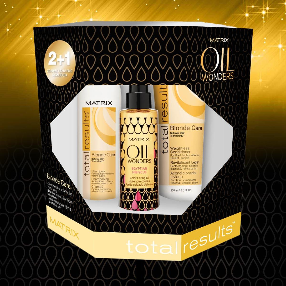 Blond care – vianočný balíček Oil Wonders od Matrix pre prírodné a melírované blond vlasy