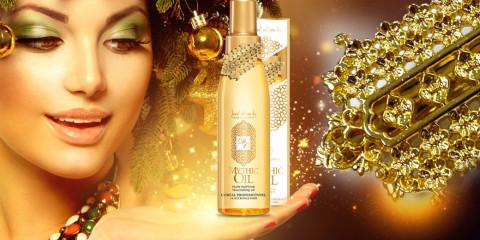 Luxusný vlasový olej Mythic Oil so šperkom sa ponúka len v špeciálnej vianočnej edícii. Šperk je od známej šperkárskej firmy Dear Charlotte.