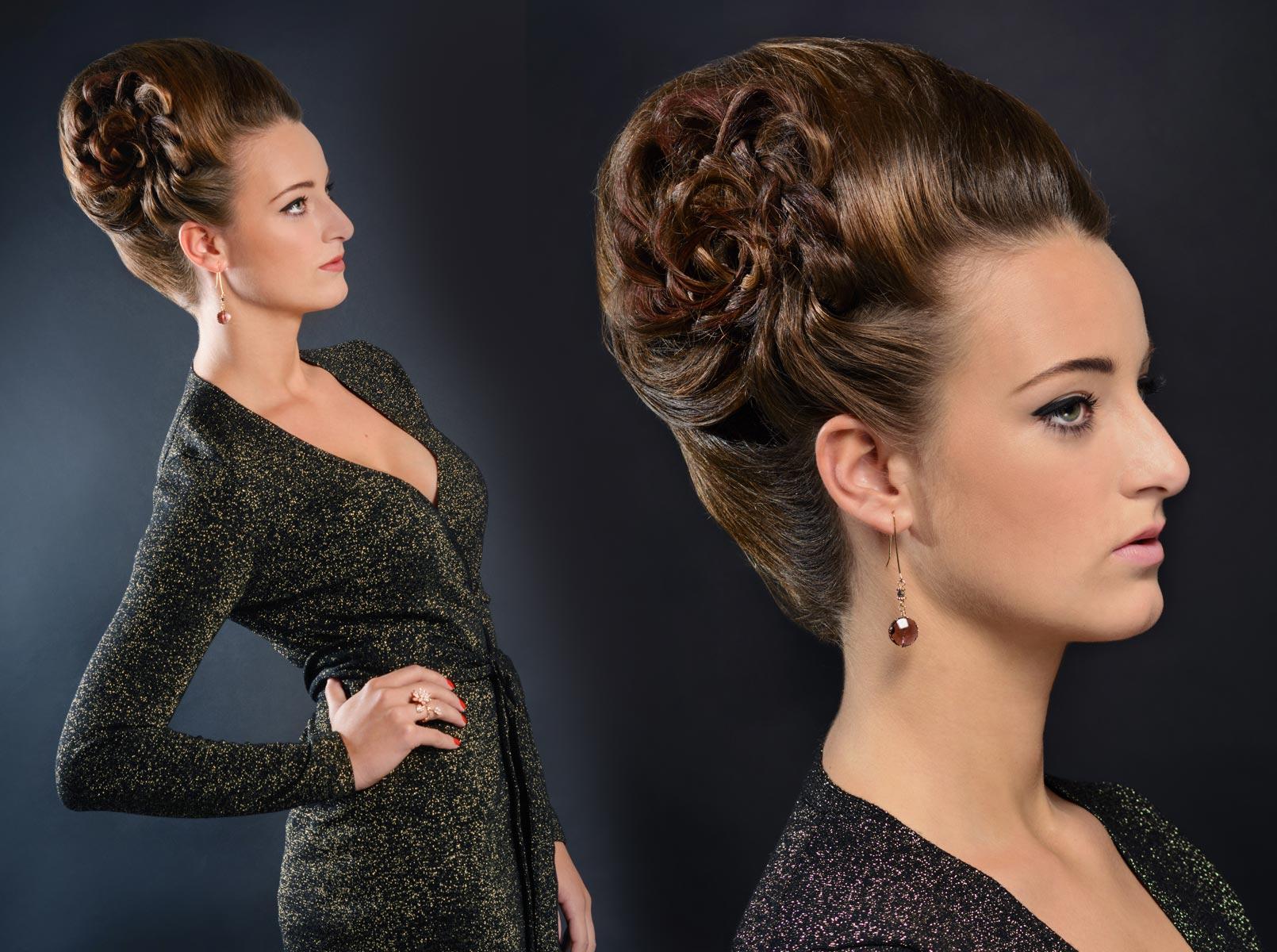 Kolekcia účesov Hair Art Design zima 2014/2015 – elegantný slávnostný drdol.