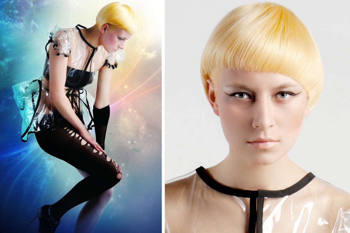 Bob ako batika: žltá farba je jednou z módnych farieb pre blond účesy 2015. Skvele vyzerá aj ako batikovanie pre bob účes.