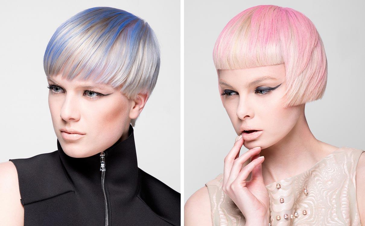 Ružový a modrý melír na krátkych blond účesoch vyzerá skvele. Aplikovaný ako batika na krátky bob je ideálnym pre optické zväčšenie objemu inak jemných vlasov.