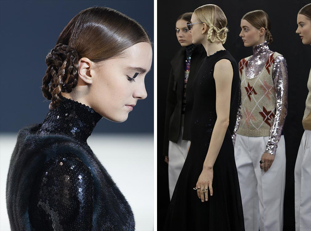 Kontrast je hlbšou myšlienkou celej kolekcie Christian Dior Pre-Fall 2015 a svoju úlohu tu hrajú aj účesy s vrkôčikmi.