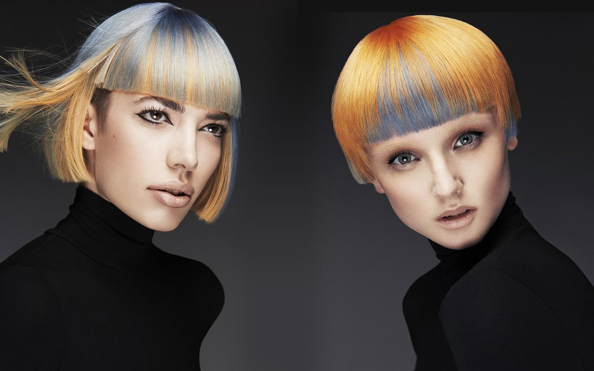 Podfarbenie vlasov ako pozitív (vpravo) a negatív (vľavo). Účesy sú z kolekcie Ken Picton.