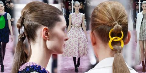Haute Couture Spring 2015 módne prehliadky to nie je len móda, ale aj skvelé účesy. A Christian Dior predstavil svoj nápad na falošný copík!