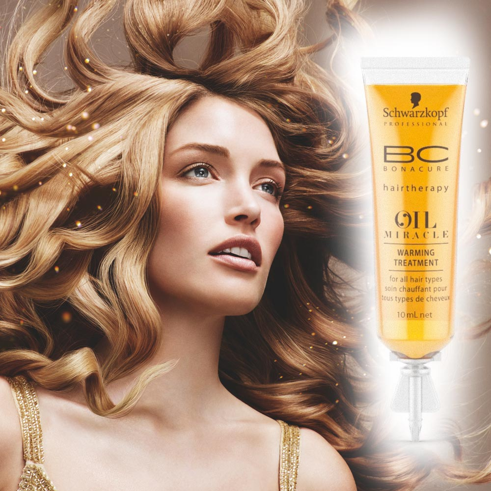 Nový prípravok BC Oil Miracle Schwarzkopf Professional. Hrejivá kúra s obsahom 10 ml je určená pre ošetrenie v kaderníckom salóne. Teplé a príjemné ošetrenie pred umývaním vlasov s okamžitým obnovujúcim efektom v podobe uhladenia, vyživenia a potlačenia krepatení.