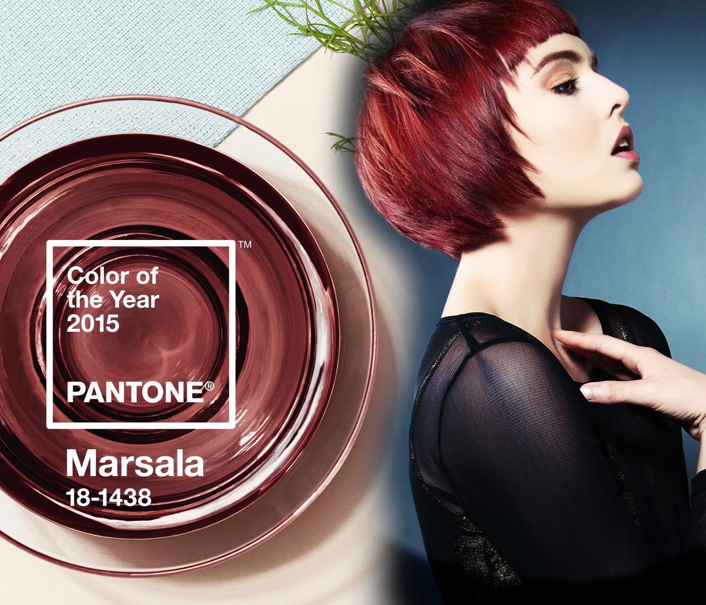 Účesy v farbe roka 2015 Marsala sú hitom. Viete, s akou farbou oblečenia kombinovať vlasy v tejto farbe? (Vlasy: Candy Shaw / Jamison Shaw Hairdressers, foto: Tom Carson, produkcia: Global Hair&Fashion Group, make-up: Betty Mekonnen, použitá farba na vlasy: Wella, módny styling: Athena Dougan.)