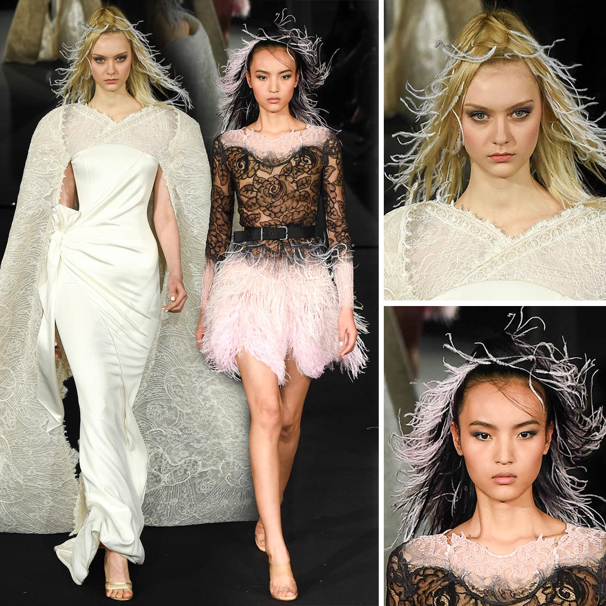 Spoločenské účesy zdobené perím podľa Alexis Mabille (Haute Couture Jar 2015).