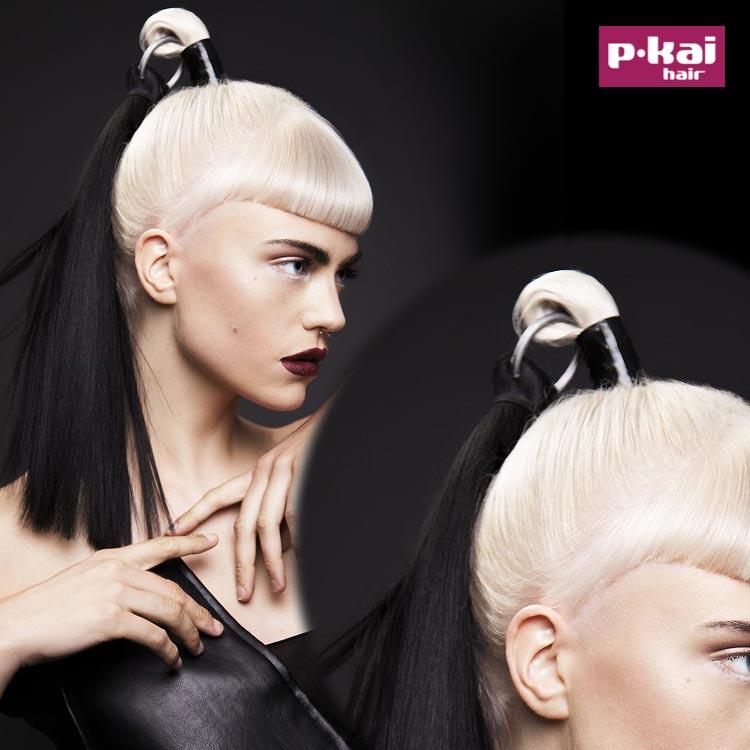 Variant na falošné copíky podľa Christian Dior. Tentoraz v extra módnej čiernobielej kombinácii. Sú z kolekcie salónu Pkai (BHA Collection, vlasy a foto: Kai Wan, styling: Jenny Wan, make-up: Katie Moore.)