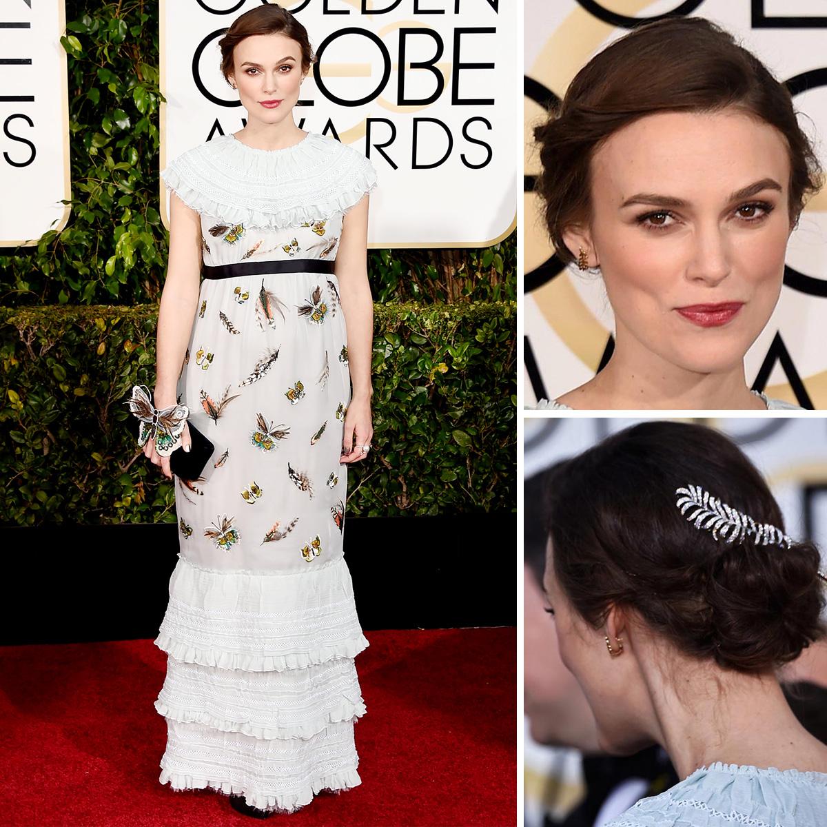 Slávnostný účes aj šaty (od Chanel) zvolila na Golden Globes Keira Knightley vo vintage štýle.