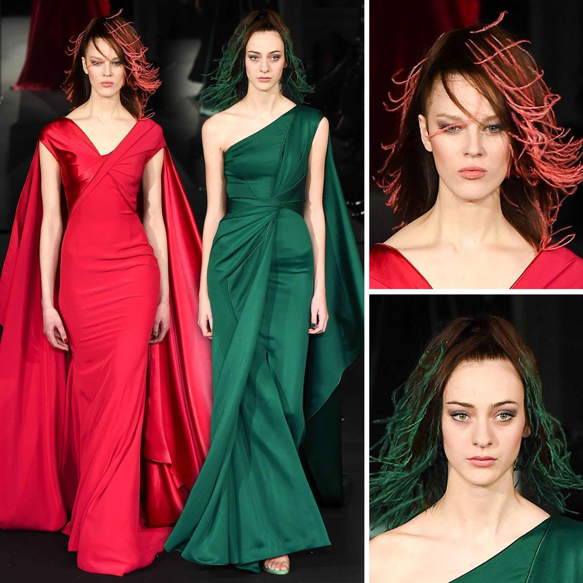 Večerné šaty z Haute Couture Jar 2015 Alexis Mabille perfektne ladia s účesmi zdobenými perím.