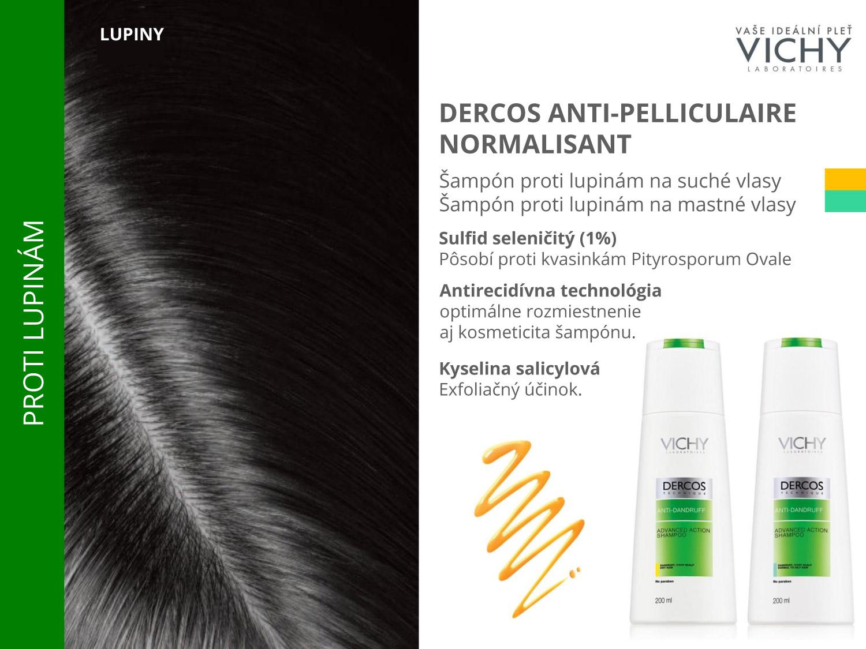 Šampóny Vichy Dercos Anti-pelliculaire Normalisant sú proti lupinám – vyberiete si variantu na suché aj na mastné vlasy.