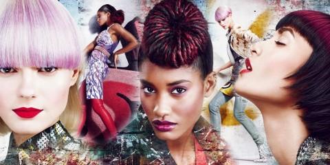 Nové jarné dámske účesy z kolekcie kaderníkov Matrix inšpirovala móda ulice a street art graffity. Účesy majú moderné strihy a pútavé farby.