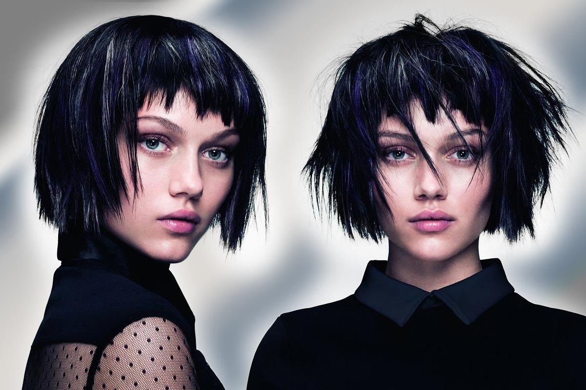 Čierne vlasy a strieborný melír kombinujte s modrými a fialovými akcentmi. (Účesy sú z kolekcie SHINE – Davines Collection 2015 a za účesmi stojí kaderník Angelo Seminara.)