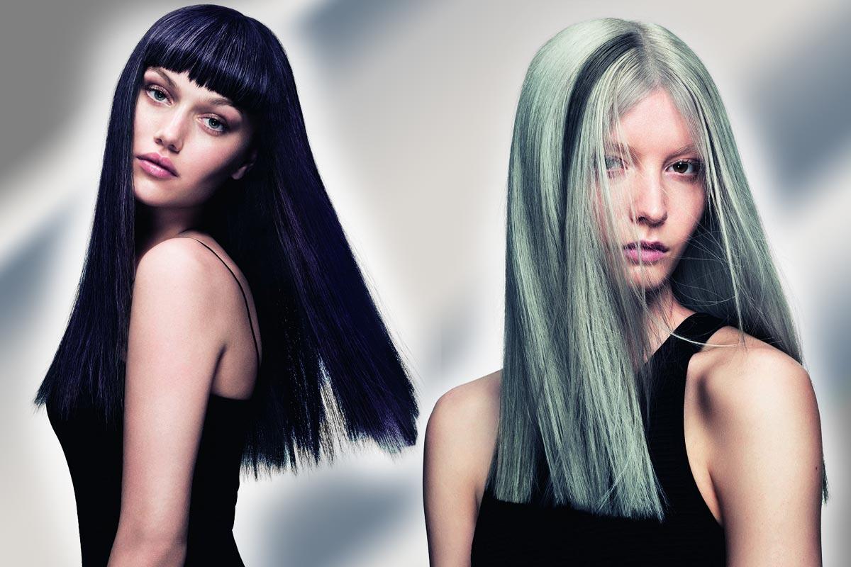 Čierne vlasy vs. strieborné – ktorá varianta sa vám páči viac? (Účesy sú z kolekcie SHINE – Davines Collection 2015 a za účesmi stojí kaderník Angelo Seminara.)