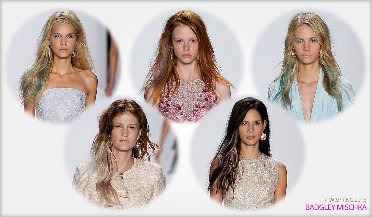 Módne kolekcie RTW Badgley Mischka S/S 2015 a ombre hair chalk účesy.
