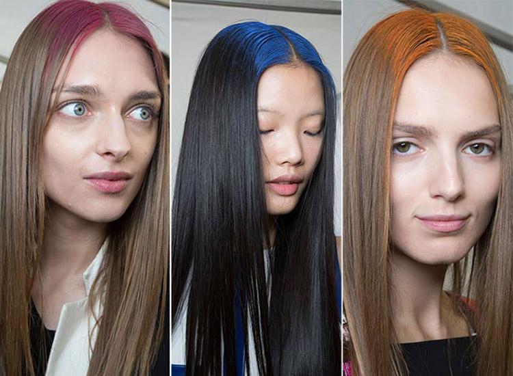 Farebné kriedy na vlasy ako color block v kolekcii Maxime Simoëns S/S 2015.