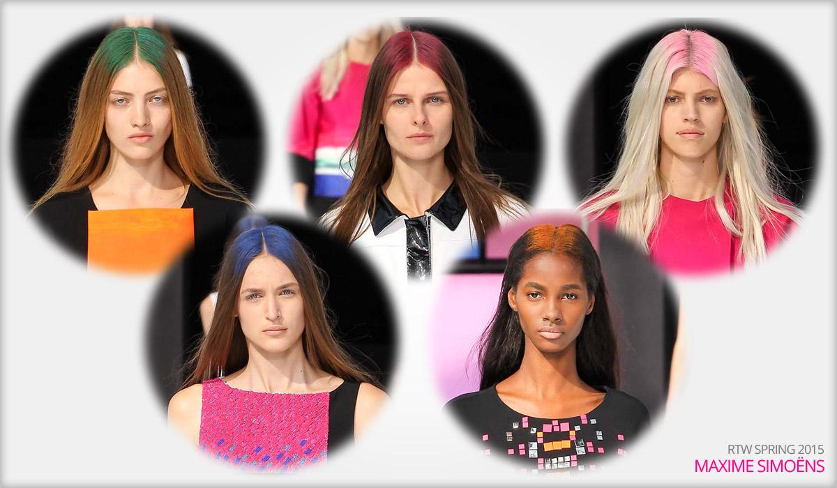Módne kolekcie RTW Maxime Simoëns S/S 2015 a hair chalk ako color block.