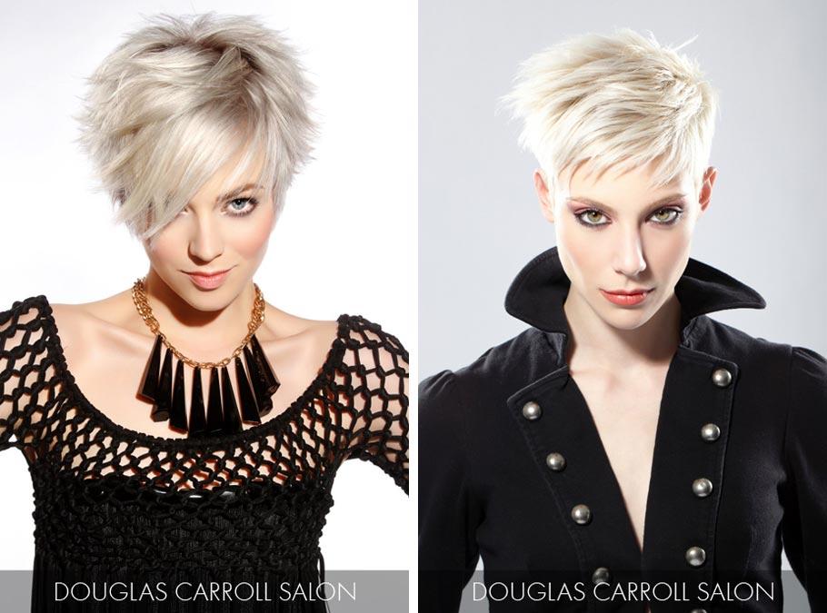 Účesy pre krátke vlasy jar/leto 2015 – vsaďte na platina blond, strieborné vlasy i čiernobiele účesy.