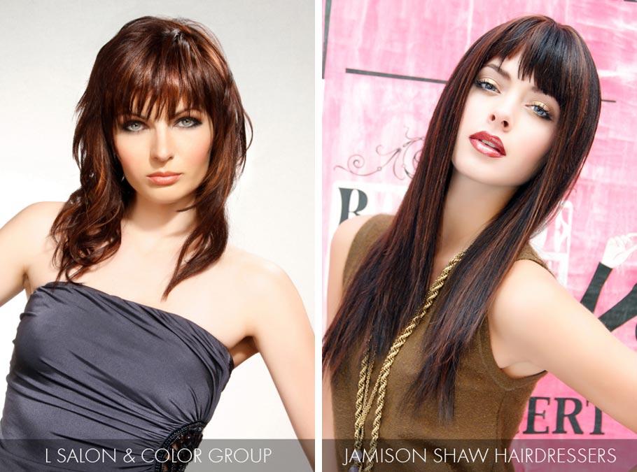 Účesy pre dlhé vlasy jar/leto 2015 – hnedočervený odtieň účesov je top odtieňom pre brunetky.
