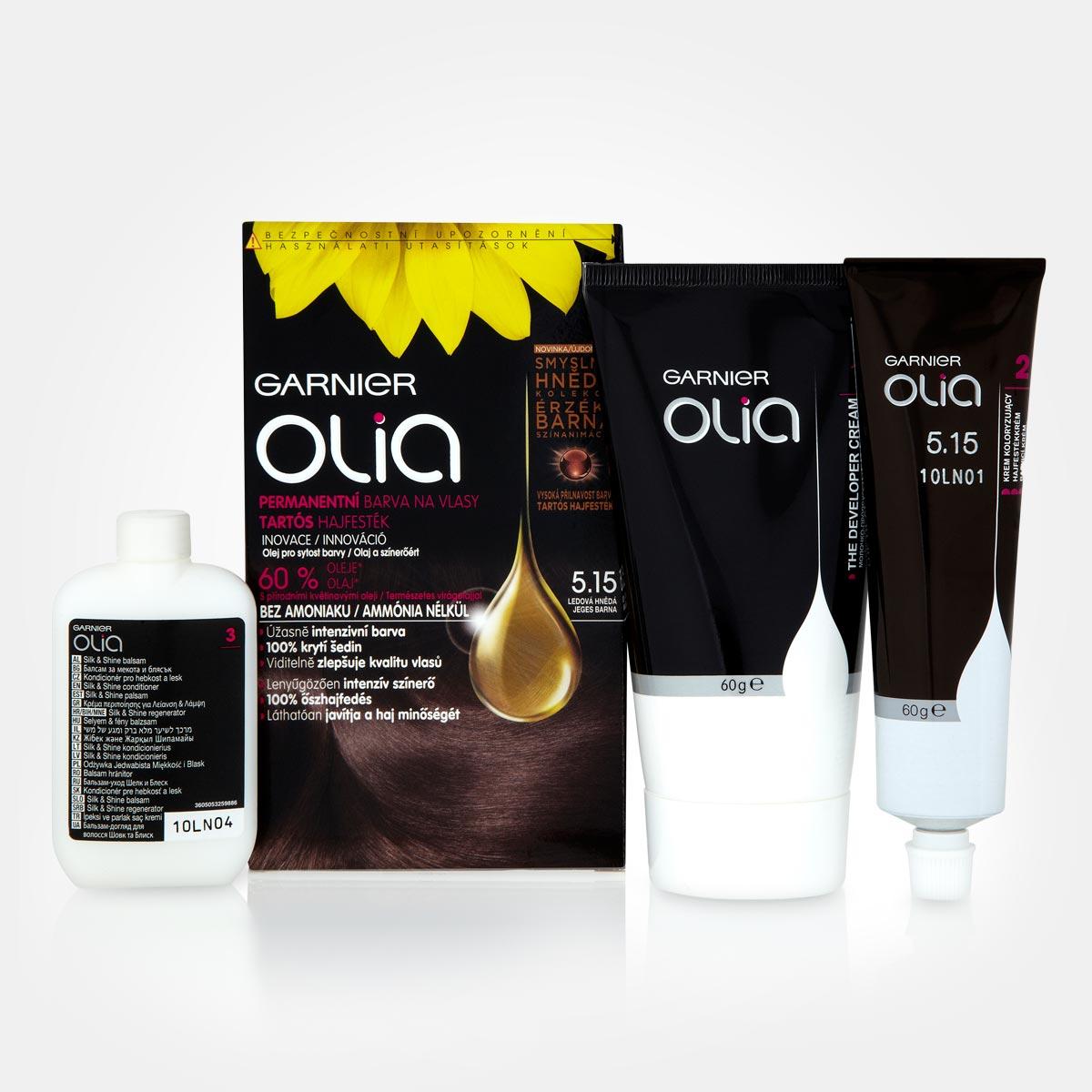 Olejová farba na vlasy Olia Garnier – Ľadová hnedá (5.15)