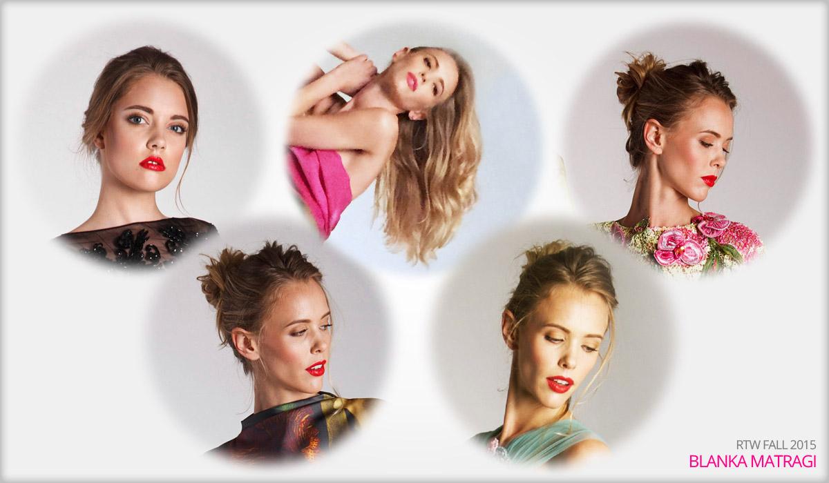 O účesy modeliek k novej kolekcii Blanky Matragi sa postarali štylistky zo salónu Petra Měchurová. Úlohy sa zhostili Viera Banášová a Jana Vrátna.