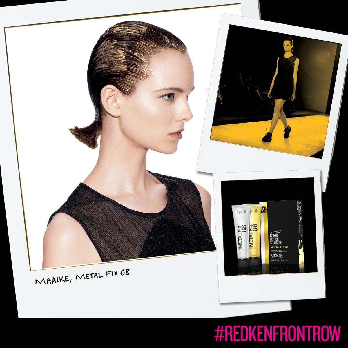 Uhladené zlaté vlasy vytvoríte pomocou Redken Metal Fix 08 – zlato.