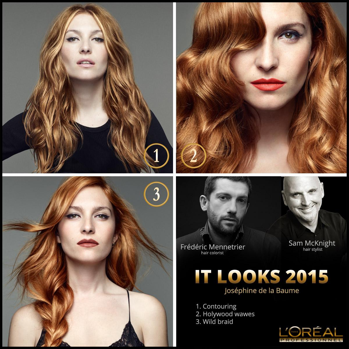 Nové účesy L'Oréal IT Looks 2015 pre tohtoročnú jeseň a zimu v podaní francúzskej herečky a modelky Joséphine de la Baume