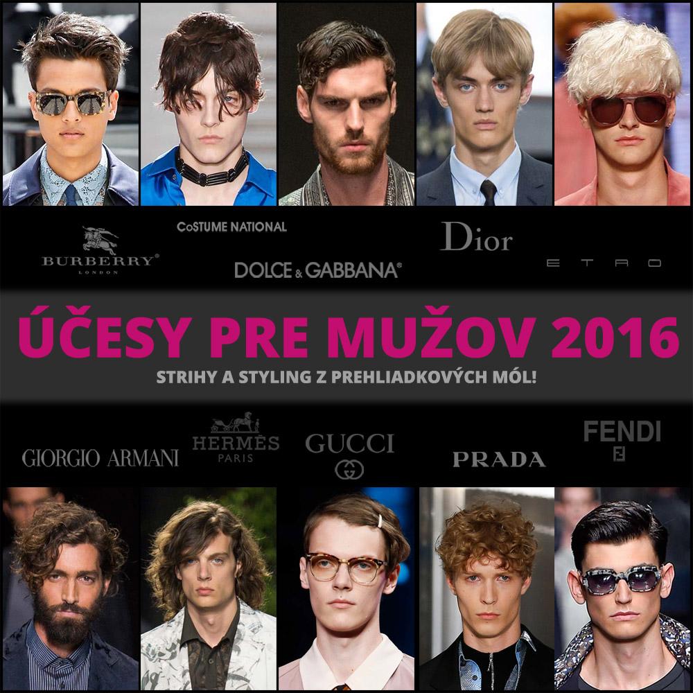 Účes pre mužov 2016 ako inšpirácia z prehliadkových mól (fashion kolekcie jar/leto 2016).