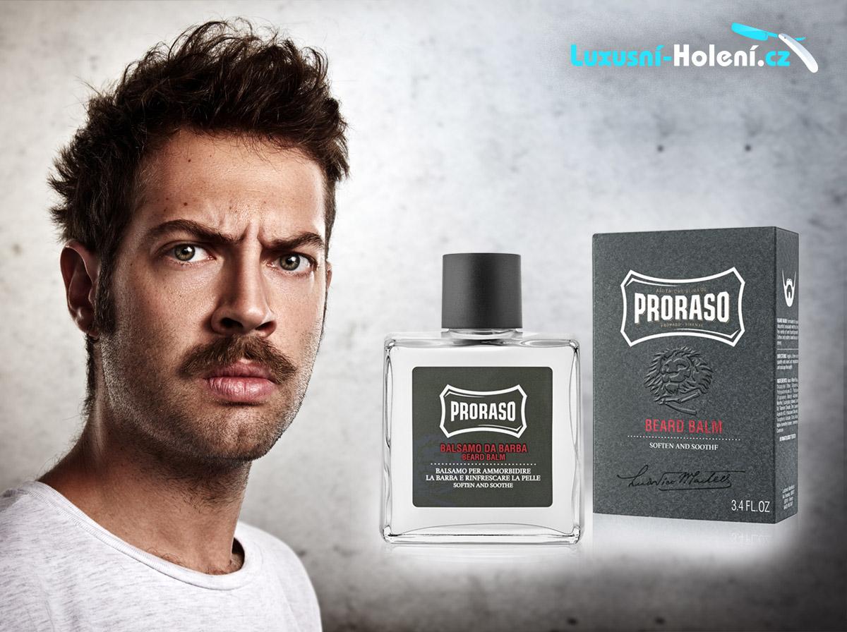 Balzam na bradu a fúzy Proraso vám pomôže vydržať svrbenie, ktoré často rast fúzov sprevádza. (Cena: 12.55 €, Luxusni-holeni.cz)
