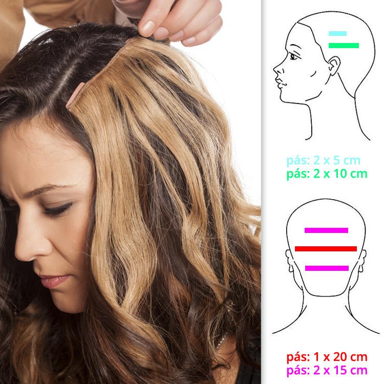 Clip-in vlasy sa predávajú ako sedem rôzne širokých pásov s vlasmi a praktickými sponkami na uchytenie do nášho vlastného vlasového porastu. Držia a nekĺžu, neničia naše vlasy a nielenže nám vlasy predlžujú, ale a zahusťujú!