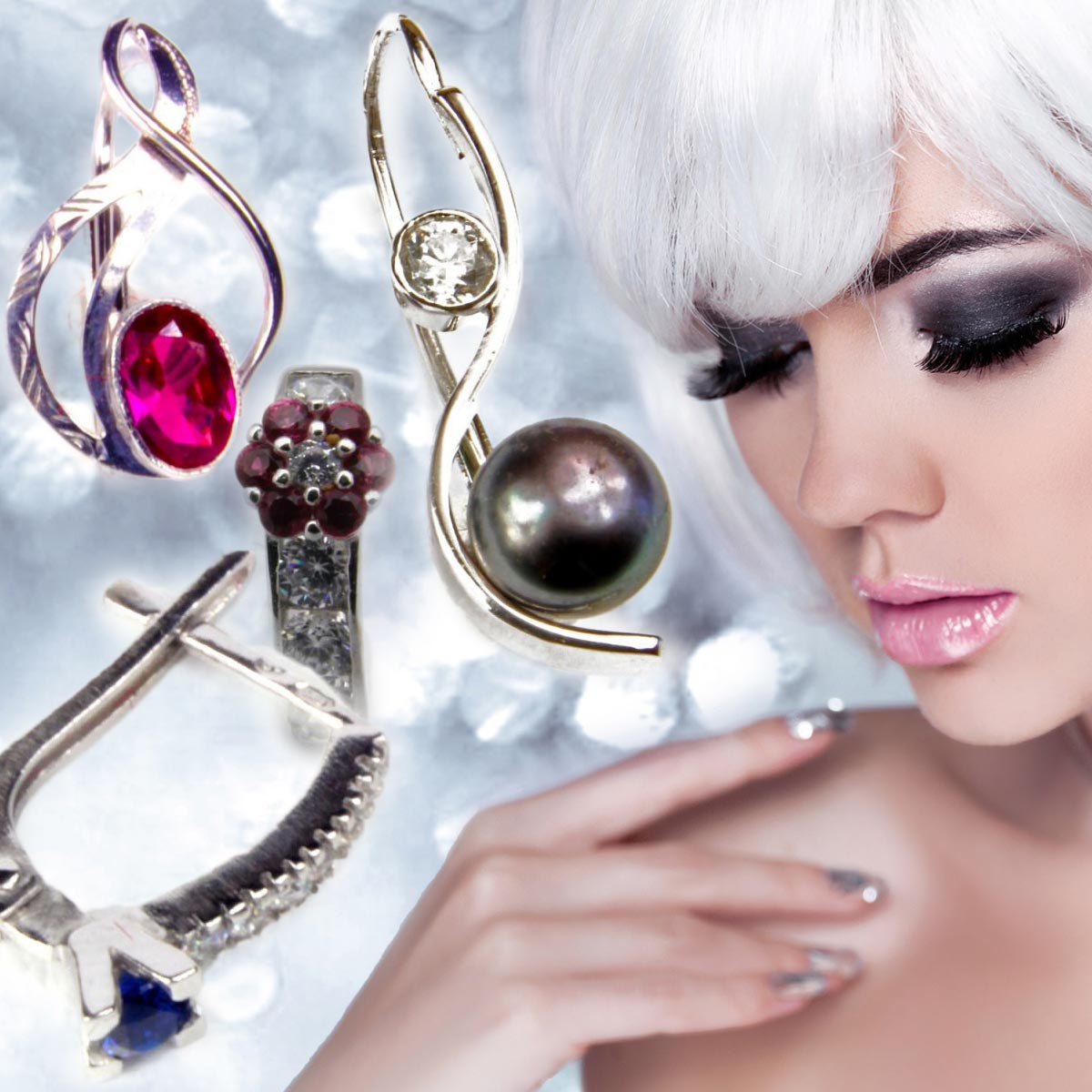 Šperky a vlasy musia ladiť – k aktuálnemu módnemu trendu strieborných a platina blond vlasov si vyberte náušnice z bieleho zlata.