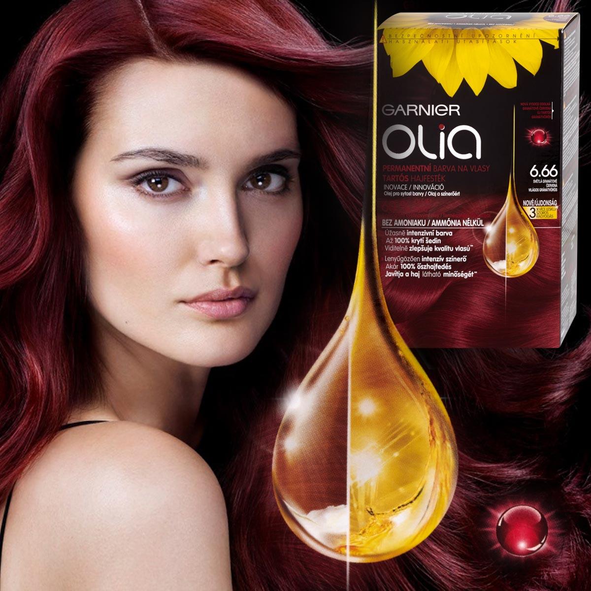 Farby Olia Garnier majú nový odtieň – je ním nádherná karmínová farba, ktorá tak rozširuje portfólio odtieňov pre milovníčky červených vlasov.