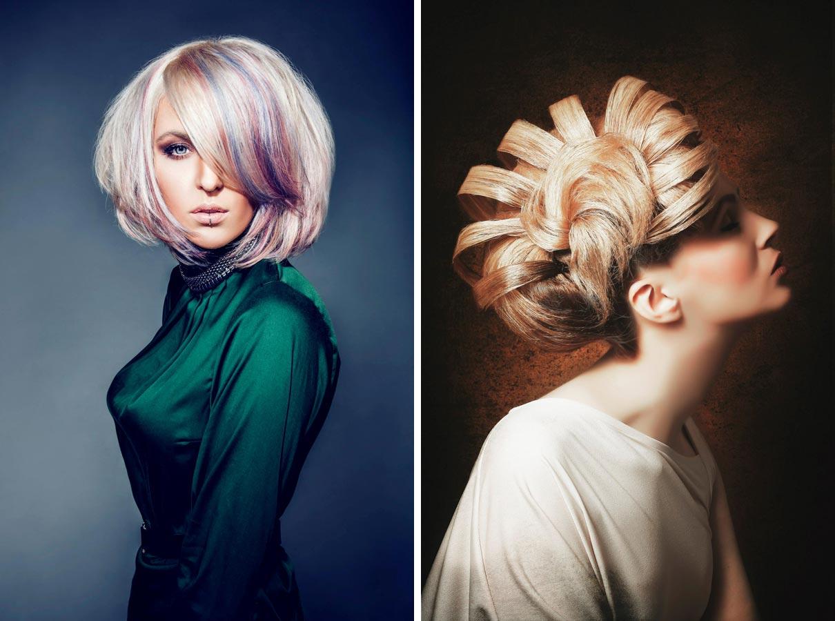 Vľavo: Úspešný účes Patrika Hagara zo súťaže Color Zoom 2015. Vpravo: Jeden z účesov, vďaka ktorému sa Patrik Hagara dostal medzi top päť kaderníkov v súťaži Czech and Slovak Hairdressing 2013 v kategórii Objav roka.