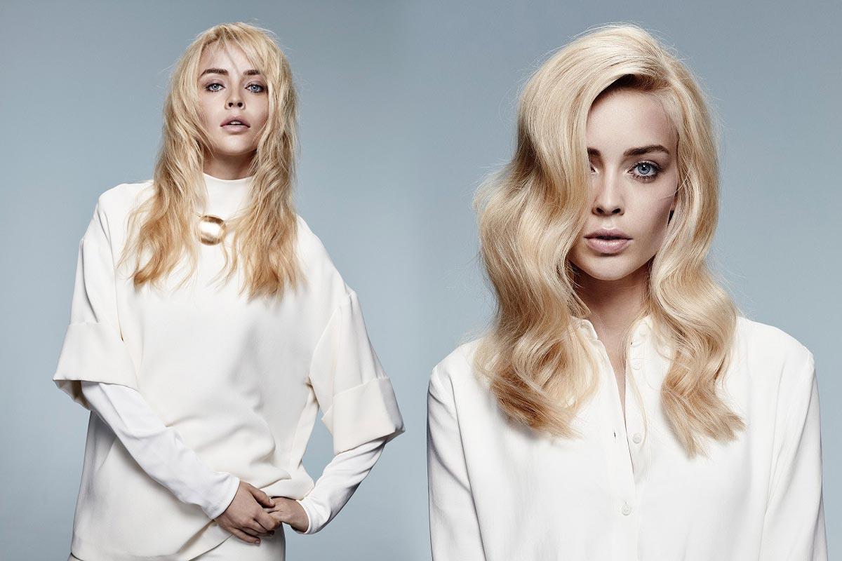 Dlhé blond vlasy 2016 nehýria farbami, ale stavajú na príjemnú ajuvédskou farbu ghí. (Účesy sú z kolekcie Jean Marc Maniatis.)