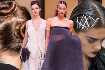 Ako na mokrý vzhľad, čiže wet efekt vlasov so sponkami aj so zaplétanými drdolmi? Inšpirujte sa návodmi na účesy 2015 a 2016 z módnej prehliadky Borisa Hanečku.