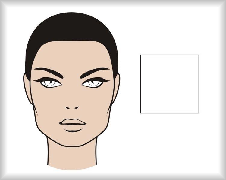 Štvorcová tvár: tvár hranatého štvorcového tvaru je symetrická v krížových osiach a má výrazné hrany v oblasti čela aj čeľuste.