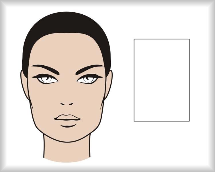 Obdĺžnikový tvár: tvár hranatého pretiahnutého tvaru je symetrická vo zvislej osi