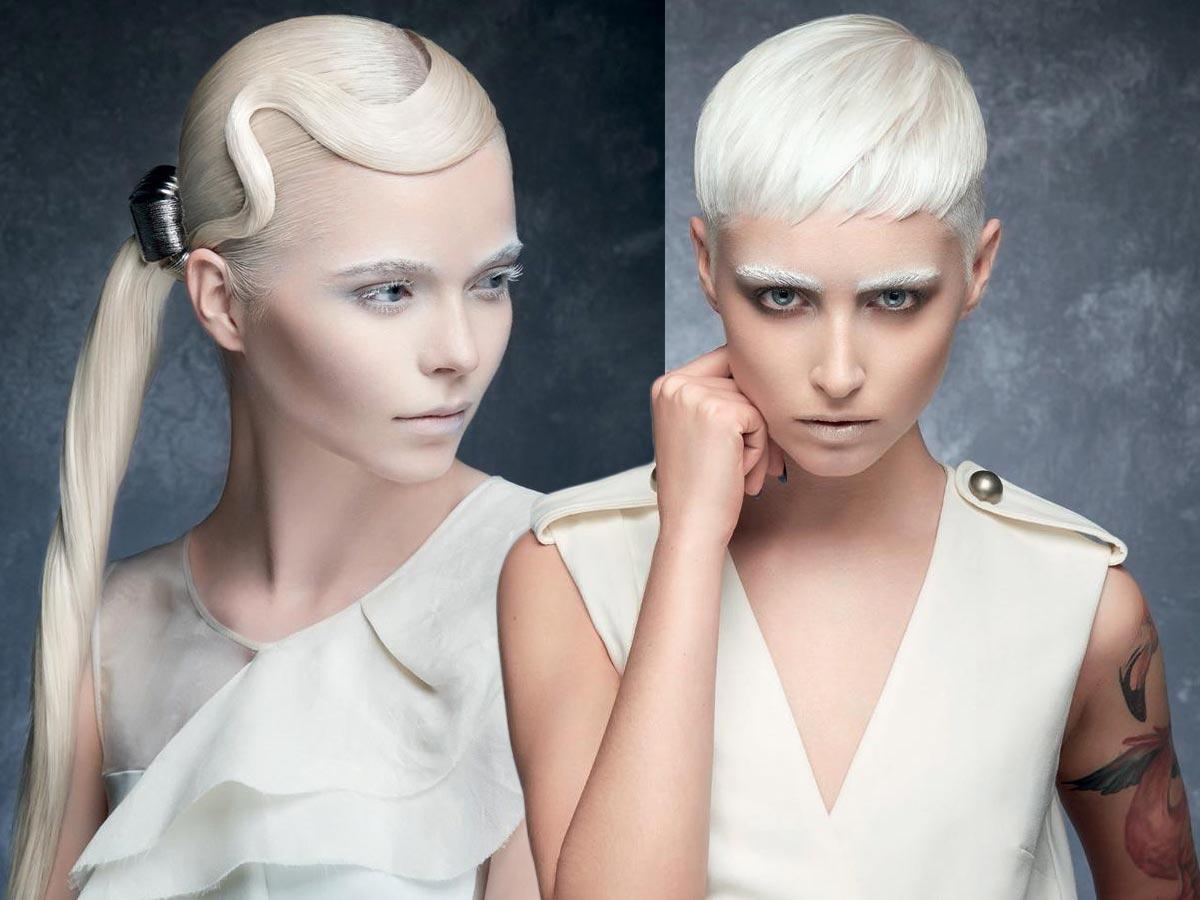 Účes na party pre jeseň/zima 2015/2016: Make-up a účes musí ladiť! Farbu vlasov môžete doladiť s farbou obočia rias, napríklad do platinovo bielej!