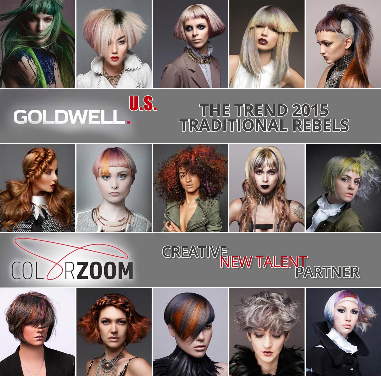 Goldwell Color Zoom 2015 US – toto sú najlepšie účesy Ameriky na tému Tradiční rebelovia v jednotlivých kategóriách súťaže.